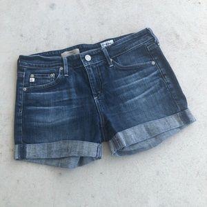 AG Dark Wash Rolled Hem Hailey Shorts